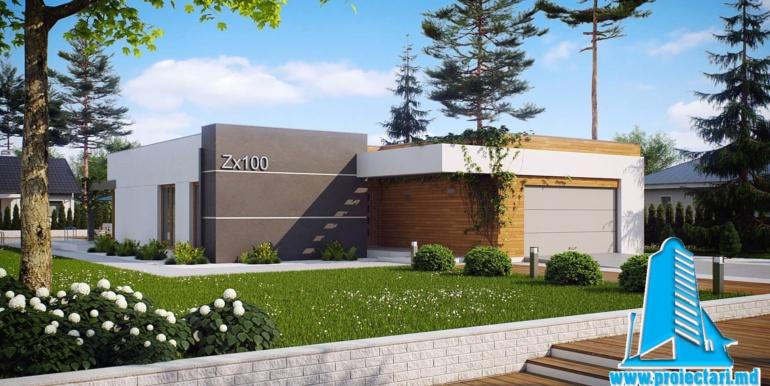 Proiect de casa cu parter si garaj cu acoperis plat