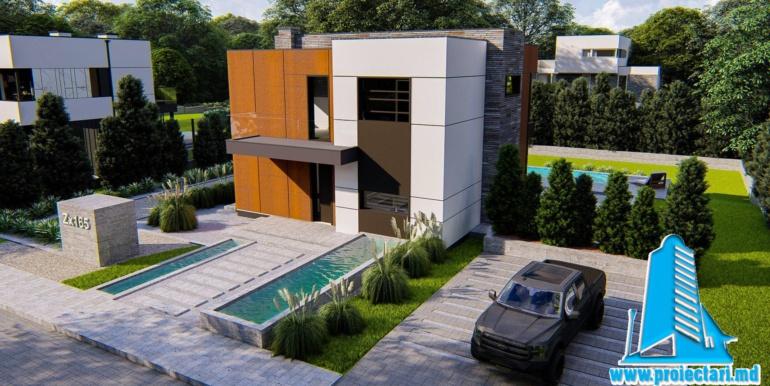 antreu Proiect de casa cu doua etaje cu acoperis plat si garaj pentru un automobil