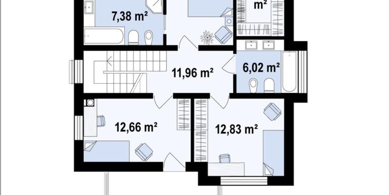 etaj Proiect de casa cu doua etaje cu acoperis plat si garaj pentru un automobil