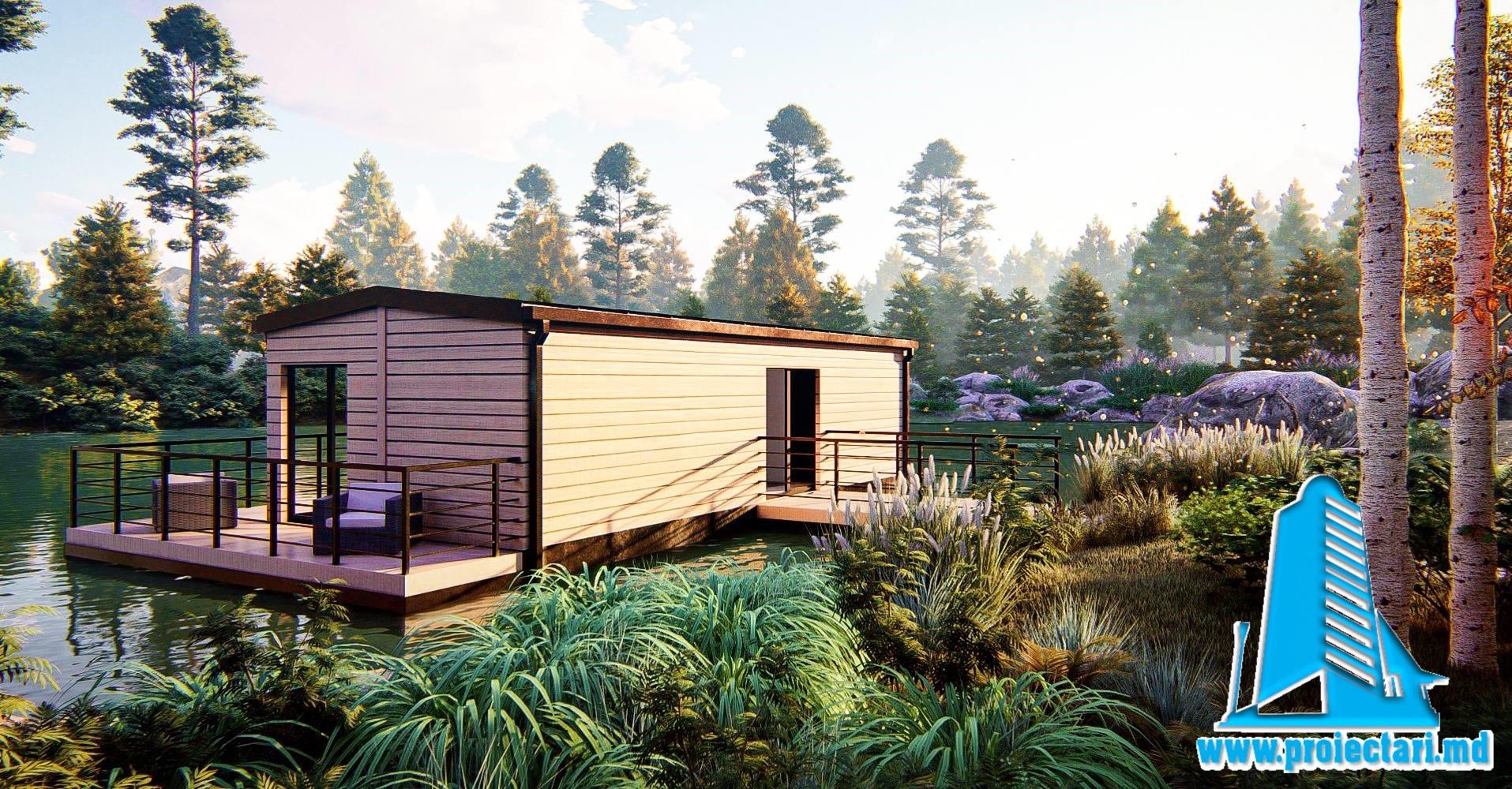 Proiect Casa de vacanta pe lac cu parter si terasa de vara-50m2-101074