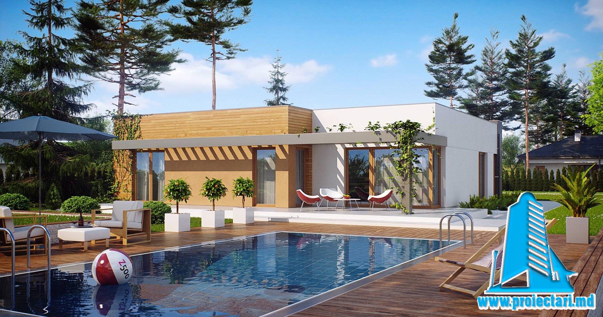 Proiect Casa mica cu parter, garaj si acoperis plat 200m2 – 101077