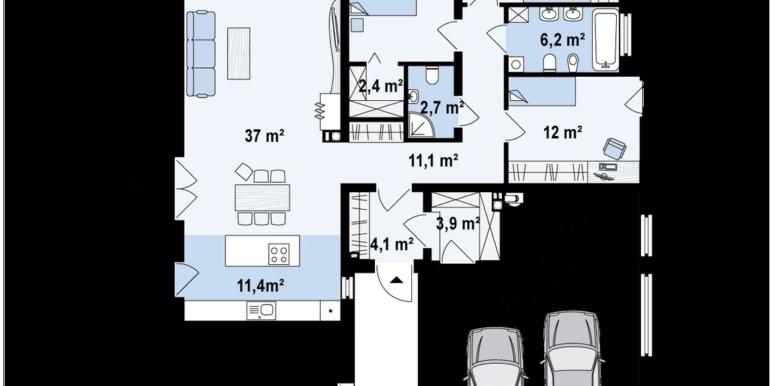 plan parter pentru Proiect de casa cu parter si garaj cu acoperis plat