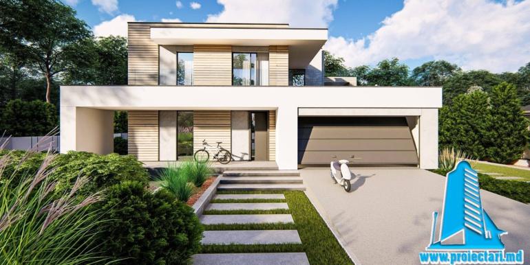 Proiect de casa cu doua etaje si garaj pentru doua automobile cu acoperis plat 2