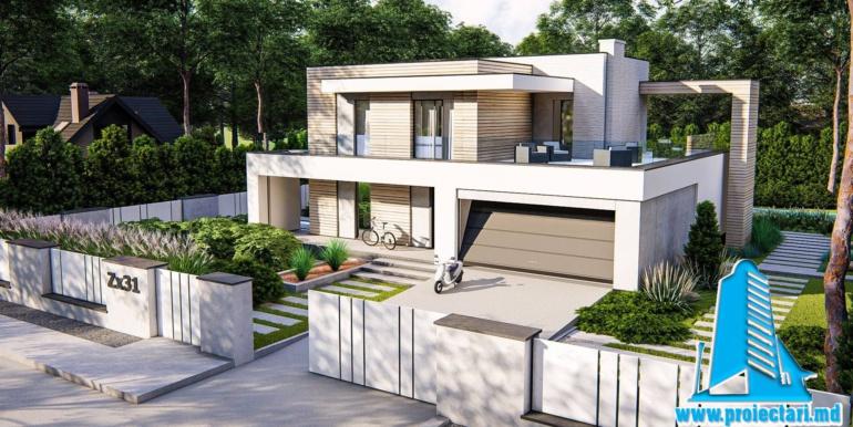 Proiect de casa cu doua etaje si garaj pentru doua automobile cu acoperis plat 3