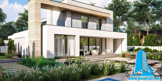 Proiect de casa cu doua etaje, acoperis plat si garaj pentru 2 automobile 210 m2- 101079
