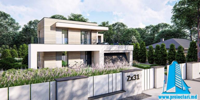 Proiect de casa cu doua etaje si garaj pentru doua automobile cu acoperis plat 6