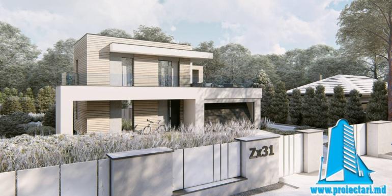 Proiect de casa cu doua etaje si garaj pentru doua automobile cu acoperis plat
