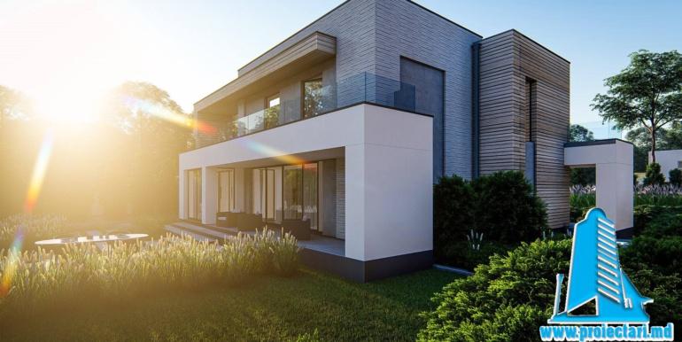 Proiect de casa cu doua etaje si garaj pentru doua automobile cu acoperis plat1