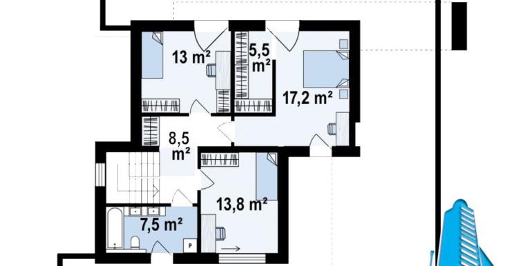 plan etaj Proiect de casa cu doua etaje si garaj pentru doua automobile cu acoperis plat