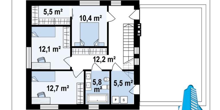 plan etaj proiect de casa cu doua etaje si acoperis plat si garaj pentru doua automobile
