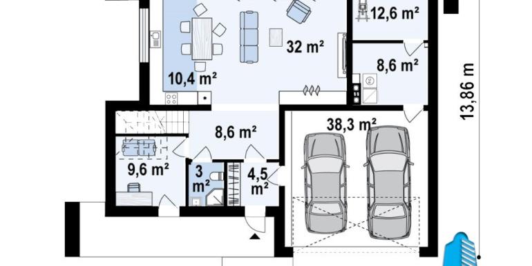 plan parter Proiect de casa cu doua etaje si garaj pentru doua automobile cu acoperis plat
