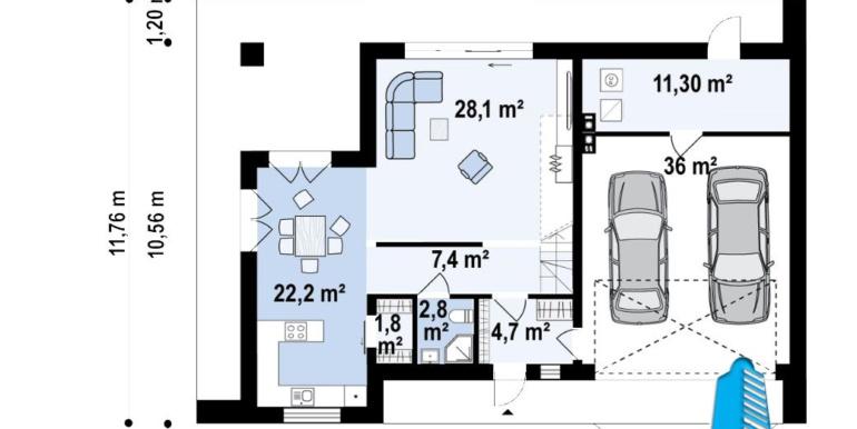 plan parter proiect de casa cu doua etaje si acoperis plat si garaj pentru doua automobile