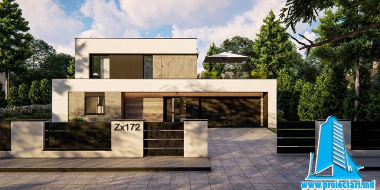 proiect de casa cu acoperis plat si garaj pentru doua automobile