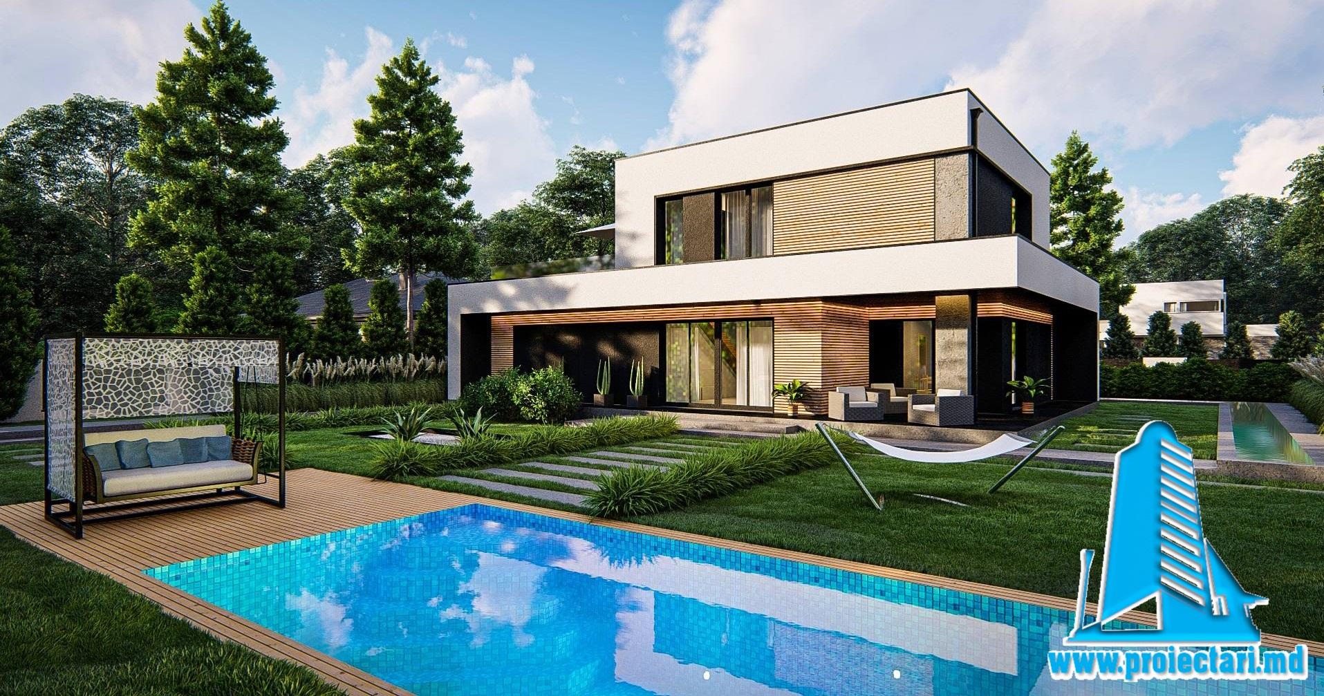 Proiect de casa cu doua etaje, acoperis plat si garaj pentru 2 automobile 200 m2- 101078