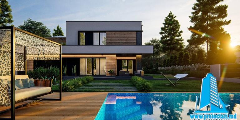 proiect de casa cu doua etaje si acoperis plat si garaj pentru doua automobile 2