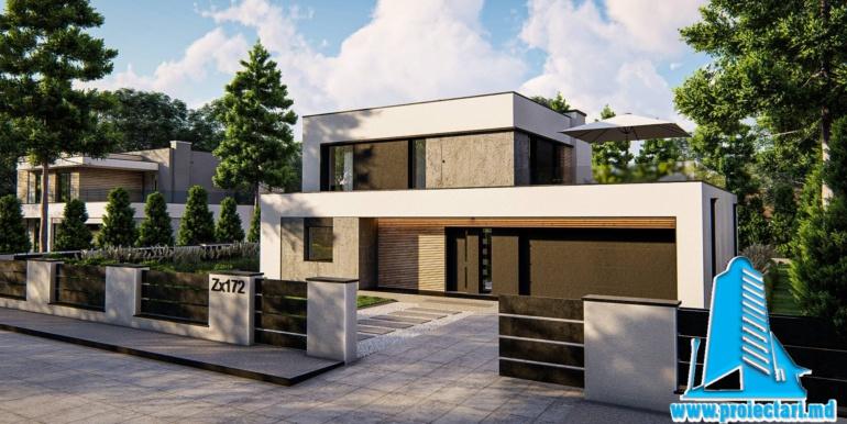 proiect de casa cu doua etaje si acoperis plat si garaj pentru doua automobile 5