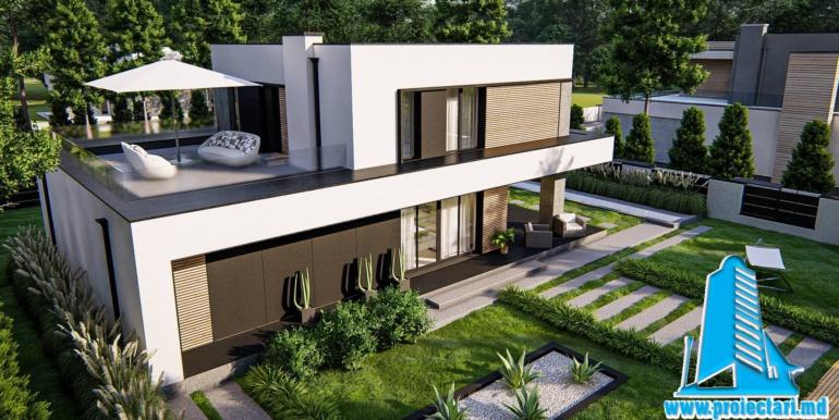 proiect de casa cu doua etaje si acoperis plat si garaj pentru doua automobile