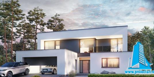 Proiect de casa cu doua etaje, acoperis plat si garaj 315 m2- 101098