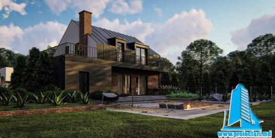 Proiect Casa cu mansarda, garaj si piscina 160m2 – 101084