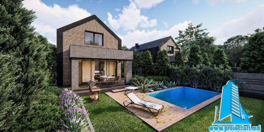 Proiect Casa cu mansarda si piscina 200m2  – 101082