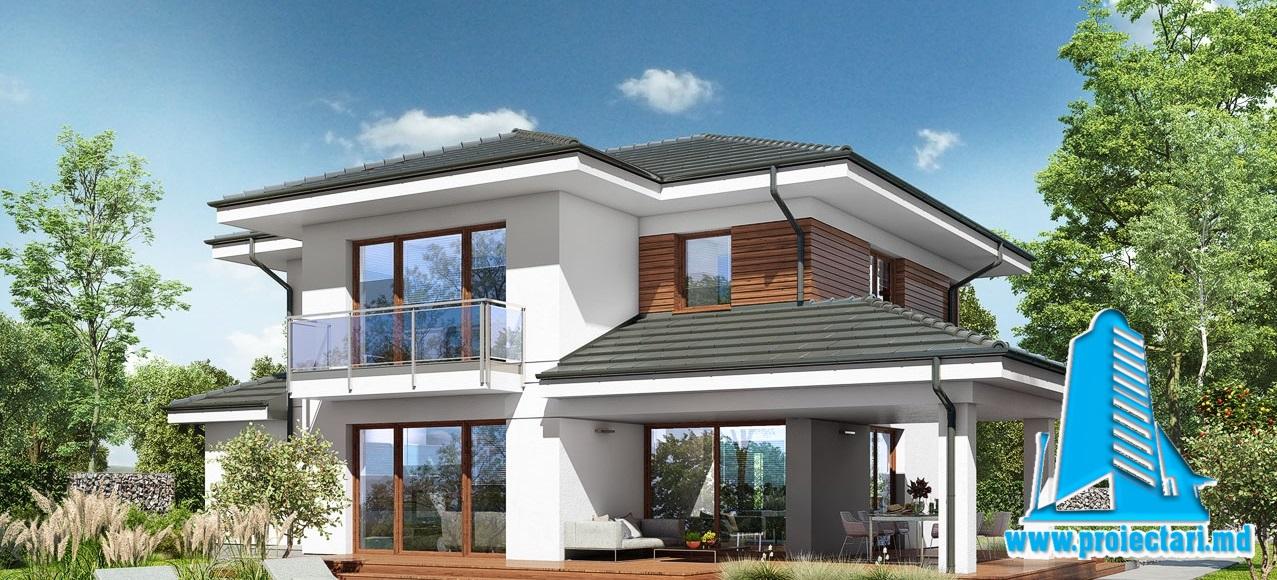 Proiect Casa cu parter si mansarda si piscina 266m2 – 101091