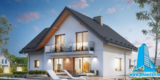 Proiect Casa cu parter si mansarda si piscina 242m2 – 101090
