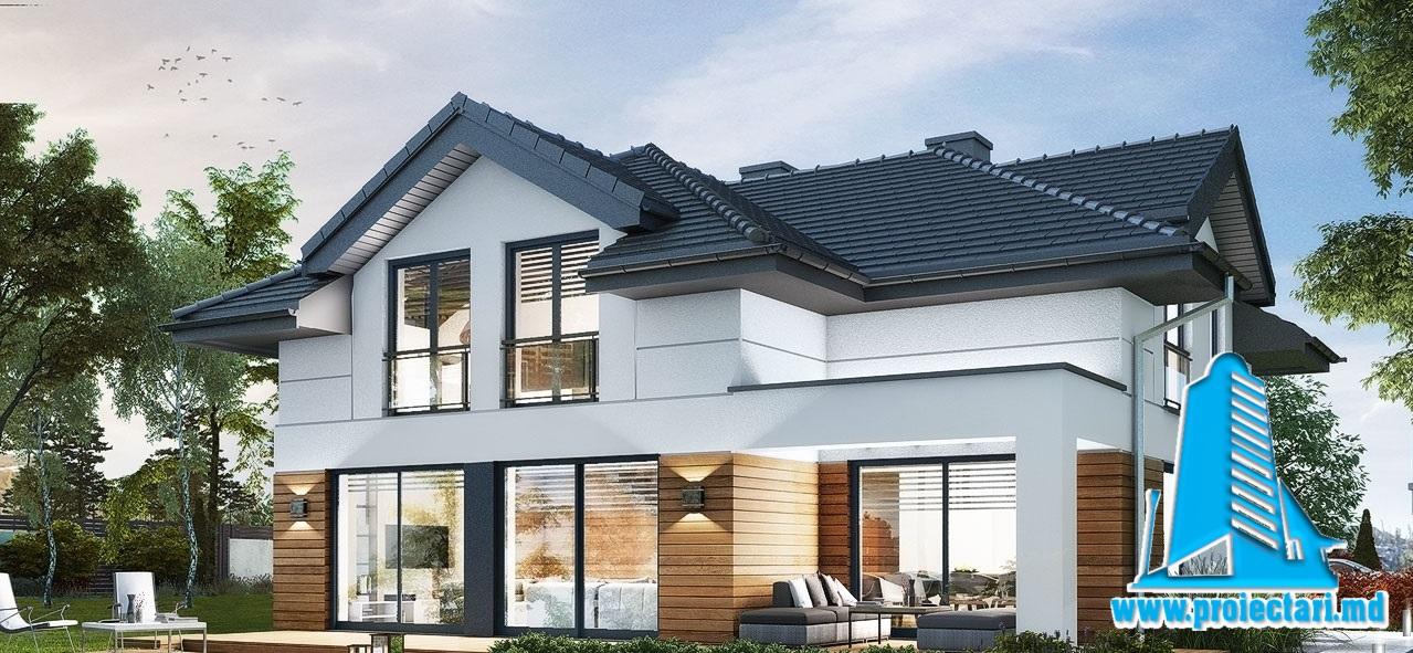 Proiect Casa cu parter si mansarda, garaj  si piscina 251m2 – 101100