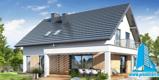 Proiect Casa cu parter si mansarda, garaj  si piscina 257m2 – 101098