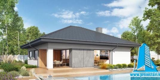 Proiect Casa cu parter garaj si piscina 137.4m2  – 101105