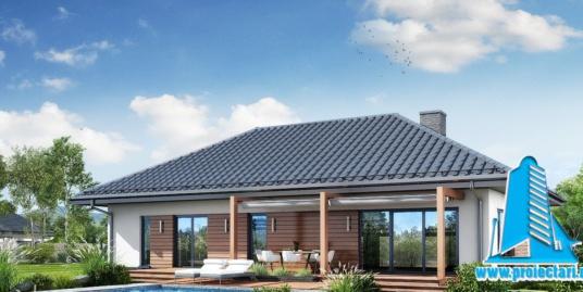 Proiect Casa cu parter garaj si piscina 157.9m2  – 101106
