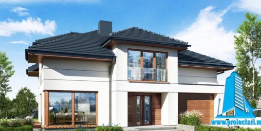 Proiect Casa cu parter si mansarda, garaj  si piscina 247.4m2 – 101095