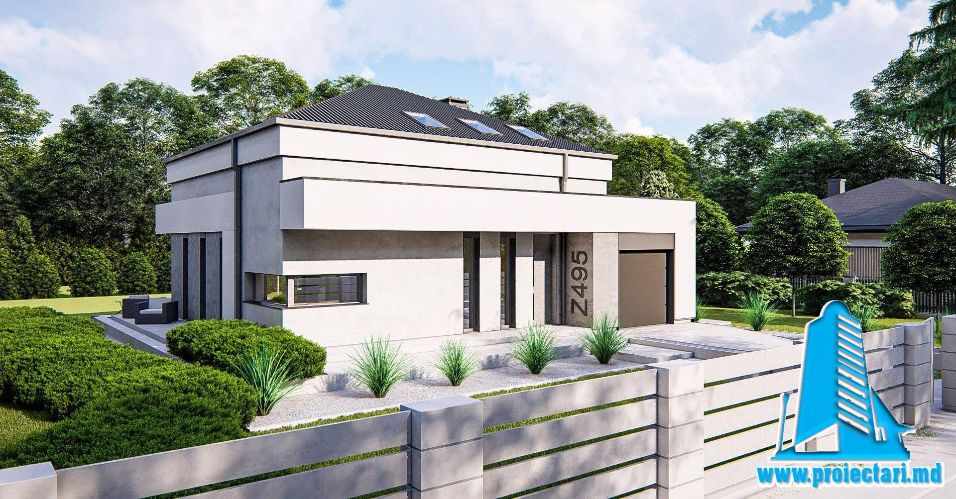 Proiect Casa cu mansarda, garaj si piscina 200m2  – 101083