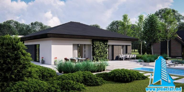 casa de locuit cu parter, terasa, bazin si garaj pentru un automobil
