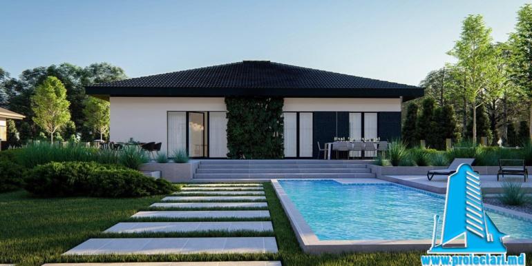 casa de locuit cu parter, terasa, bazin si garaj pentru un automobil gradina casa de locuit cu parter, terasa, bazin si garaj pentru un automobil