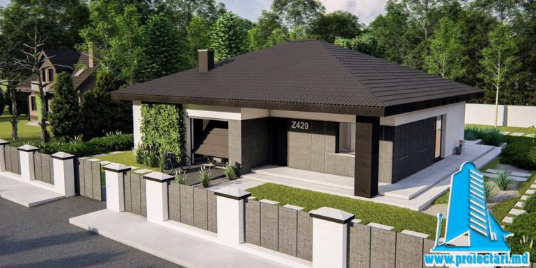 casa de locuit cu parter, terasa, bazin si garaj pentru un automobil1