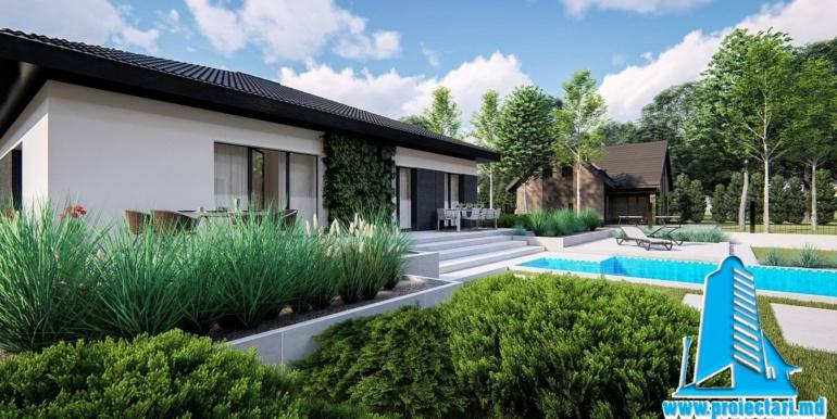 landshaft design casa de locuit cu parter, terasa, bazin si garaj pentru un automobil