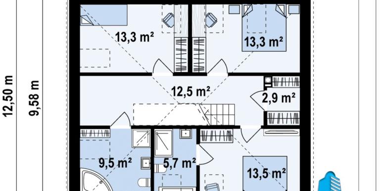 plan etaj casa de locuit cu mansarda