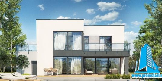 Proiect de casa cu doua etaje, acoperis plat si garaj  271 m2- 101097