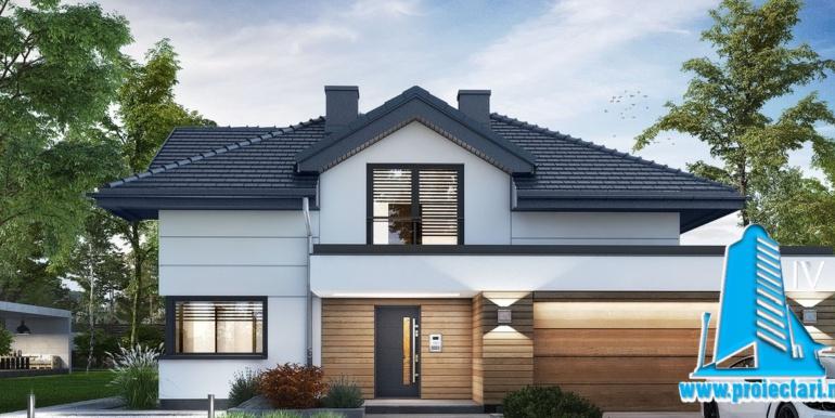 proiect de casa cu mansarda cu garaj pentru doua automobile