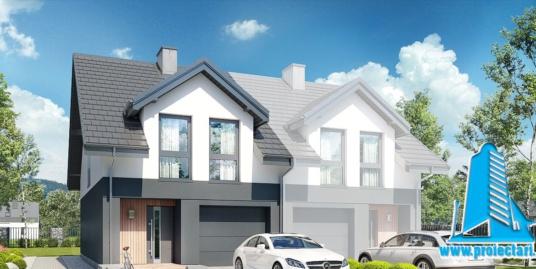 Proiect Casa duplex cu parter si mansarda, garaj  si piscina 163.6m2 – 101103