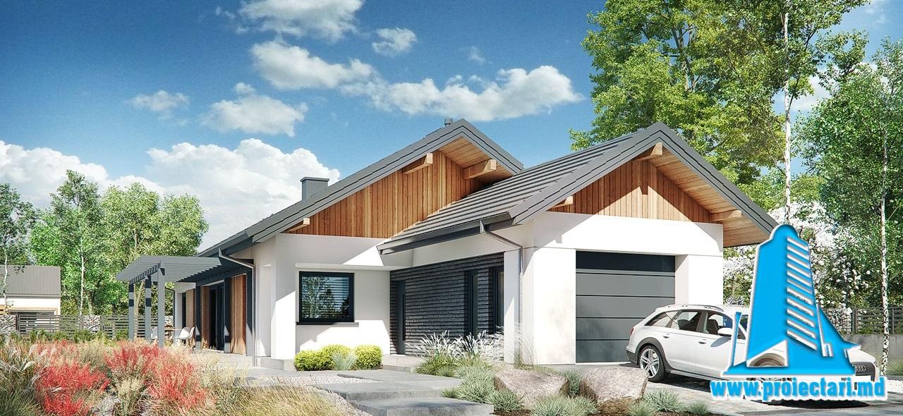 Proiect Casa cu parter garaj pentru doua automobile si piscina 191m2  – 101088