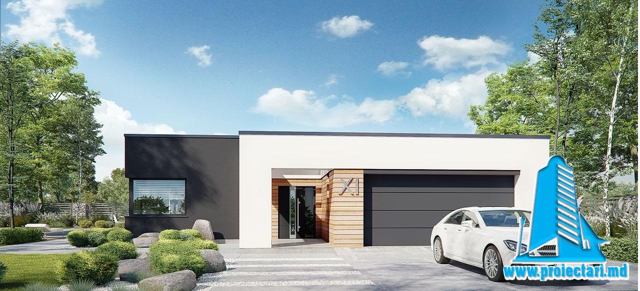 Proiect Casa mica cu parter, garaj si acoperis plat 218.5m2 – 101099