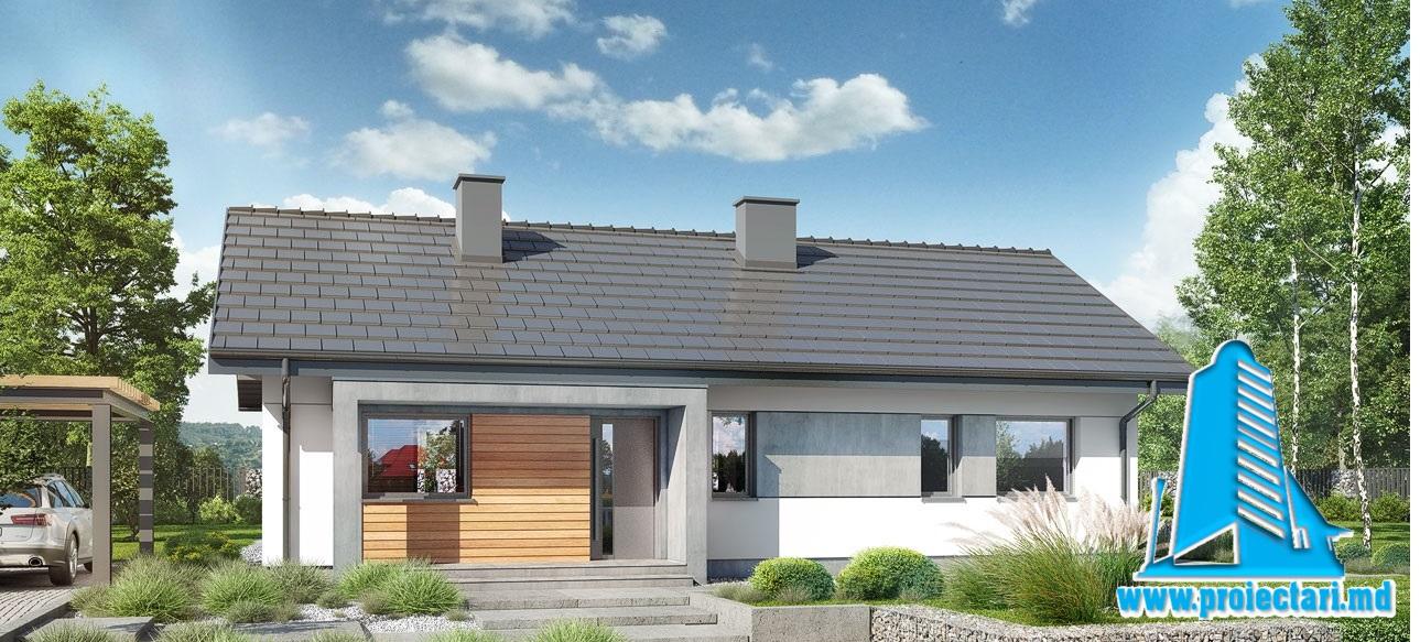 Proiect Casa cu parter  si piscina 105.0m2  – 101102