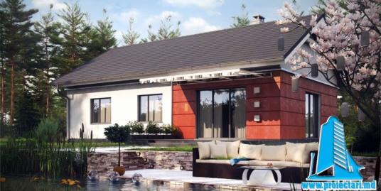 Proiect Casa cu parter si piscina 120m2  – 101085