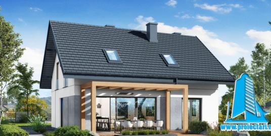 Proiect Casa cu mansarda si piscina 180m2 – 101086