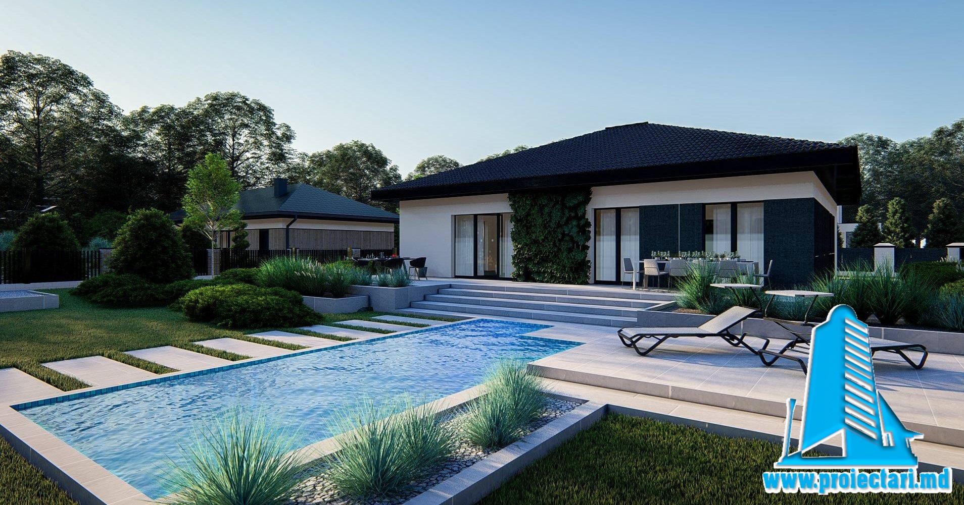 Proiect Casa cu parter si piscina 170m2  – 101080