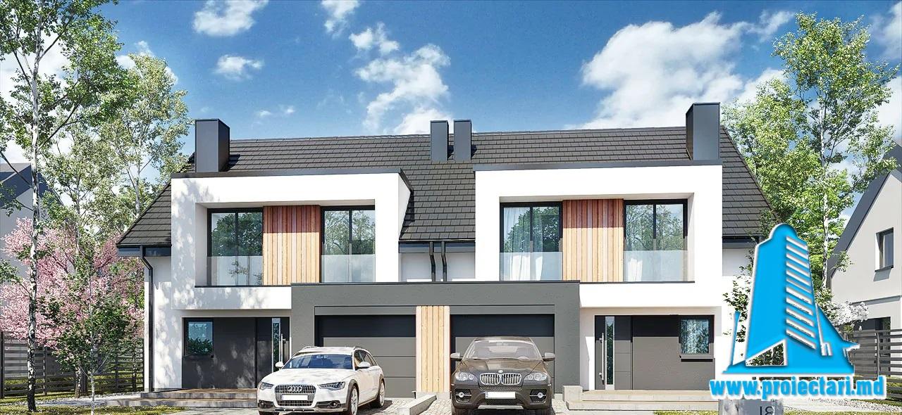 Proiect Casa duplex cu mansarda 192.7m2 – 101130