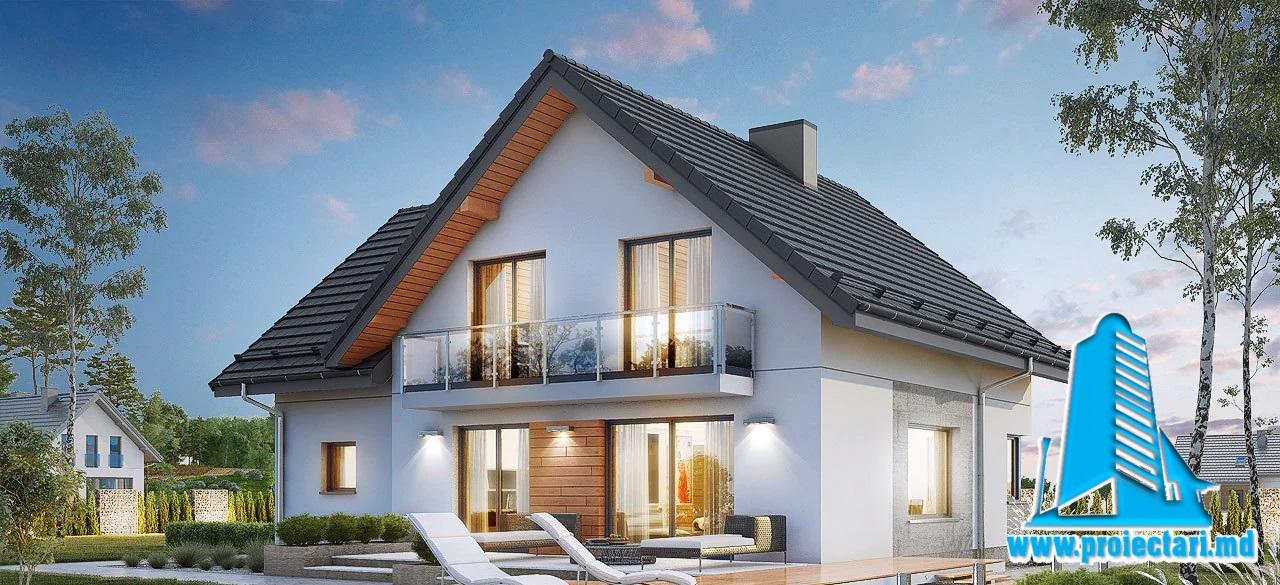 Proiect Casa cu parter si mansarda si garaj pentru un automobil   242m2 – 101108