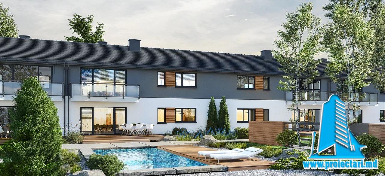Proiect Casa townhouse cu doua etaje   151.9m2 – 101112