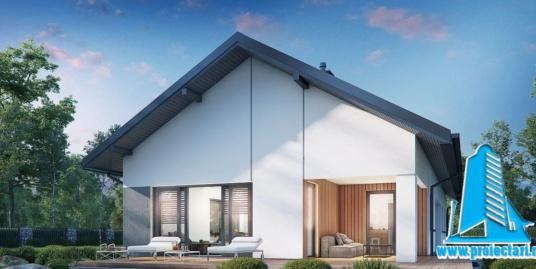 Proiect Casa cu parter si mansarda si garaj pentru un automobil   185m2 – 101110